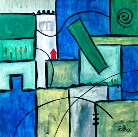 Efka Anna - Toscana, Siena - acrilico carta - 40 X 40