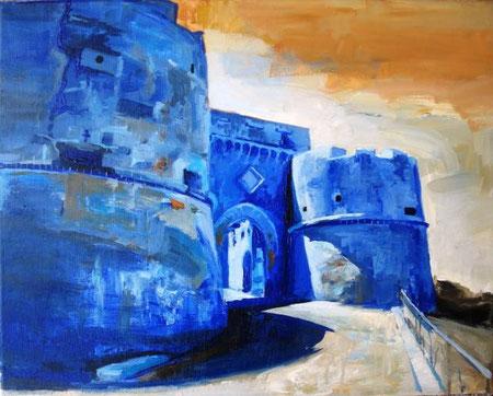 Castellese Salvo - Il castello di Milazzo - olio tela - 50 X 40