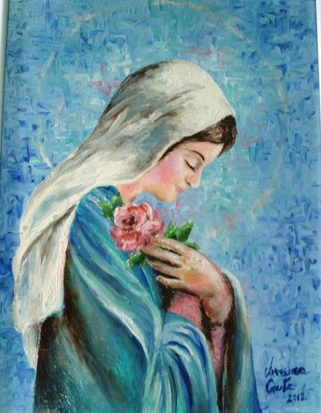 Conte Vincenza - Madonna della serenità - olio carta - 30 X 40