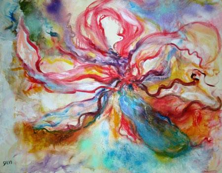 Canobbio Silvana – Fiore  - acrilico tela - 80 x 60