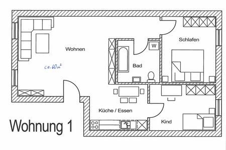 Grundriss Ferienwohnung Lehhof: Wald und Wiese
