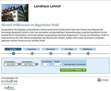 screenshot Onlinebuchung Ferienwohnungen Lehhof
