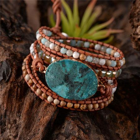 Mode bracelets bijoux colliers boucles d'oreilles, pierre naturelle turquoise jaspe. cadeaux offrir et faire plaisir