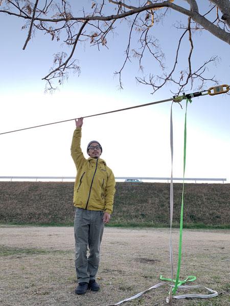 ・地面フラット ・距離49.5m ・ウェビング60m(マラソンプレイ 伸縮率7% at 10kN)・アンカーの高さ190cm・プレイヤーの体重56kg
