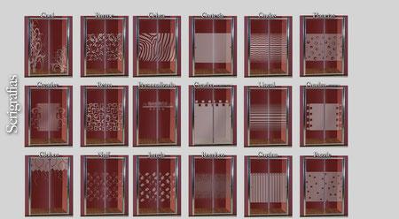 Vidrios serigrafiados para mampara frontal de ducha Dina