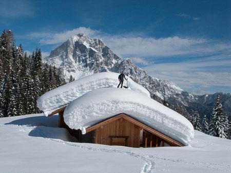 Almhütte versinkt im Schnee - natürlich auch das Wild !
