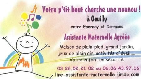 Carte de visite : Votre p'tit bout cherche une nounou ! line-assistante-maternelle.jimdo.com