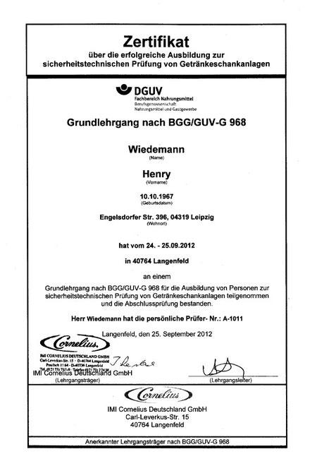 Zertifikat Getränkeschankanlagenprüfung
