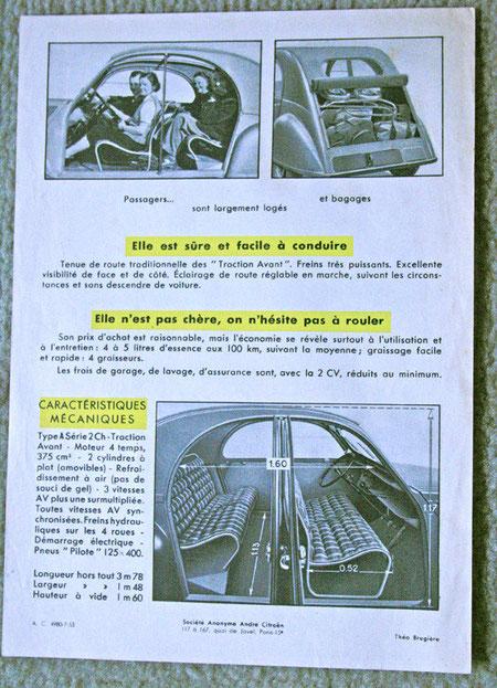 Encart publicitaire pour la 2CV Citroën 1950