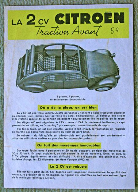 Encart publiciataire pour la 2CV Citroën 1950