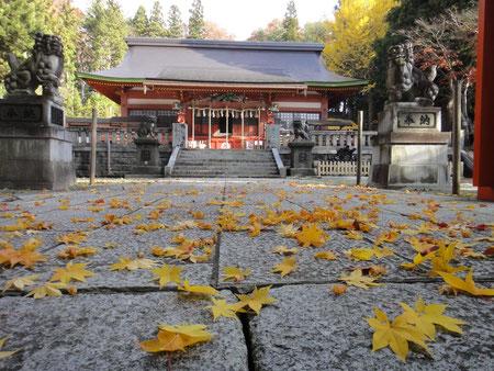 紅葉と社殿