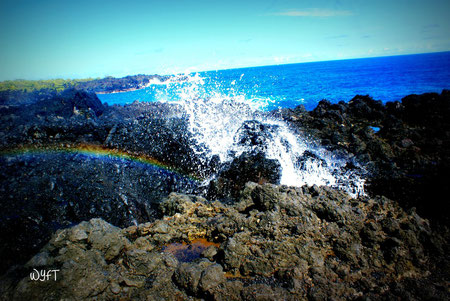 © Steven. Blowhole and rainbow at Wai'anapanapa State Park, Maui, HI