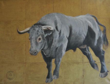 tableau-art-taureau-tauromachie-peinture-corrida-or-gris-toro-bullfighting