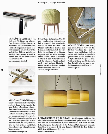 Wohnrevue Magazin, en vogue design Schweiz, Medienbericht schlüsselbrett, Alu Designleiste, Design Award, genial einfach, multifunktional, Ordnungswunder, Designfilz, Garderobe, Küche, Bad