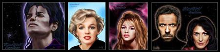 Portraits de Mickael Jackson, Marilyn Monroe, Brigitte Bardo, Hugh Laurie et Lisa Edelstein (Docteur House)