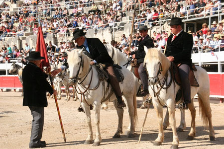 Hubert Yonnet remet l'étendard au Capitaine J-P Durrieu entouré de ses Prieurs (1er mai 2011)