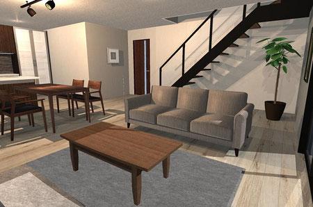 3D 家具配置イメージ インテリア 内装 東京デザインセンター 東京インテリア 栃木県家具 鹿沼市