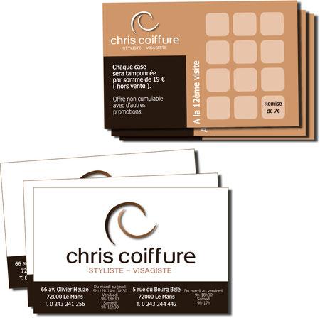 Chris coiffure Cartes de visite 85 x 54 mm