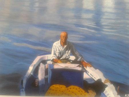 Ο Παππούς της οικογένειας Σάρδη Θεμιστοκλής ζωγραφισμένος από την εγγονή του Κυριακή