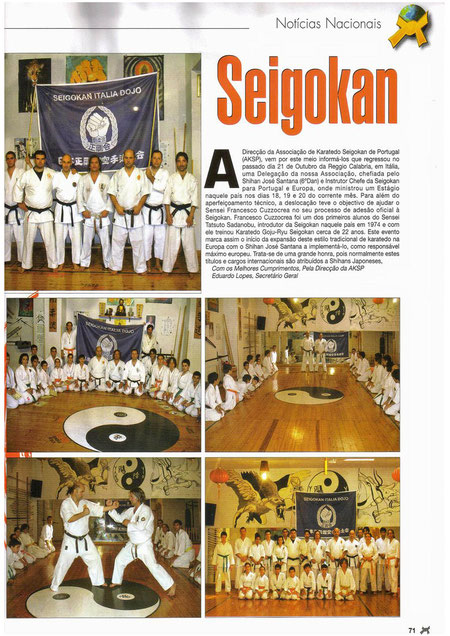Articolo  su  Budo  International  mese  di  dicembre 2008