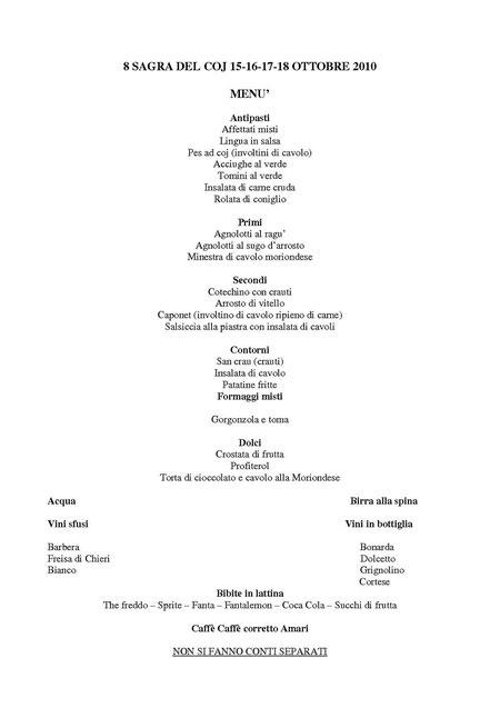 Il Menu del Padiglione Gastronomico
