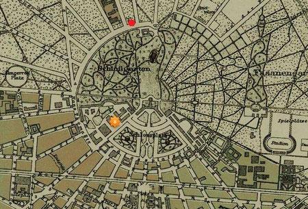 Karte von Karlsruhe mit Theater (Stern) und Forstamthaus (roter Punkt)