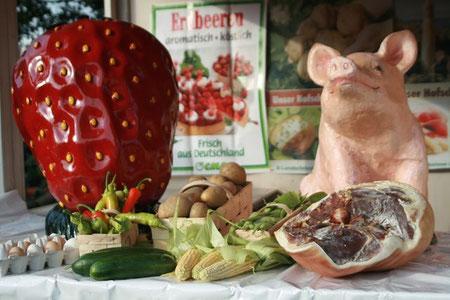 v.L.: Eier, Erdbeeren, Paprika, Zucchini, Kartoffeln, Mais, Bohnen, Schinken