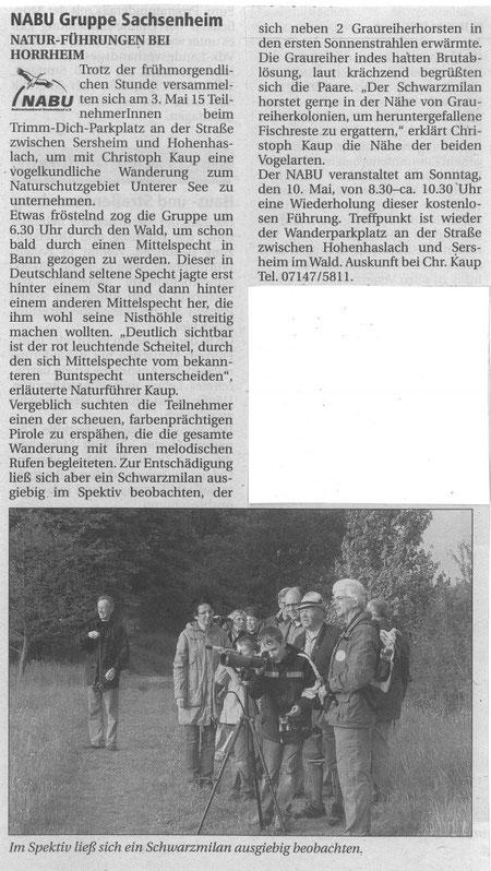 Nachrichtenblatt 08.05.2009 über Führung am Unterer See in Horrheim