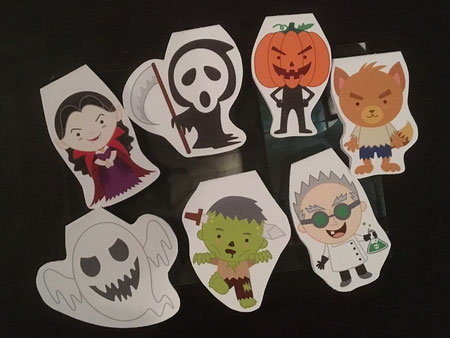 """4 von 7 Magnetlesezeichen """"Monster"""" mit Motiven von CuteGraphicSupply"""