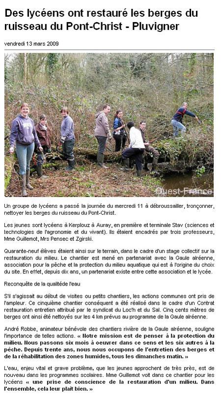 Ouest France du 13/03/2009