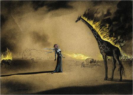 Сальвадор Дали. Пылающий жираф. 1937