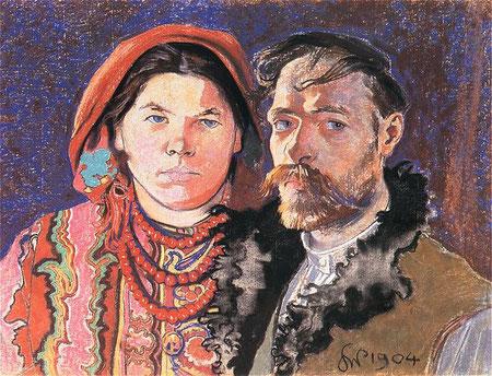 Stanisław Wyspiański : Selbstporträt mit Ehefrau