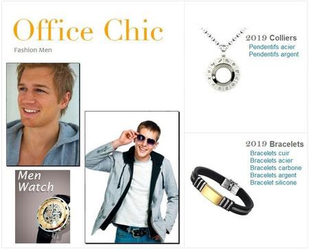 Bijoux Hommes Bracelet Colliers Acier et Cuir - Bijoux des Lys