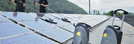 Solaranlage reinigung, Photovoltaikanlagen reinigung, Industriekletterer, Berufskletterer