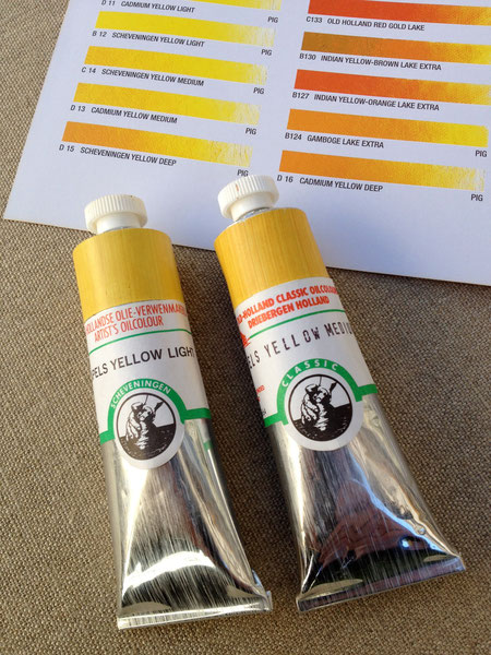 Old Holland Oil Colours, Genuine Naples Yellow (lead antimonate), light and medium