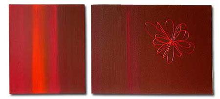 """Pinkorange"" - Gesamtformat: 130 x 60 cm, Einzelformat: 50 x 60 cm, 80 x 60 cm, Acryl auf Leinwand"