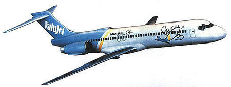 Modell einer MD-95 (Boeing 717) in den Farben der ValuJet/Courtesy: McDonnell Douglas