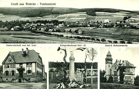 Alte Ansichtskarte von Wehrda - Oben: Totalansicht des Dorfes, unten/links: Gastwirtschaft von Ad. Lotz, unten/Mitte: Kriegerdenkmal 1914 – 1918, unten/rechts: Schloss Hohenwehrda  (Foto: Privatbesitz E.Sternberg-Siebert)