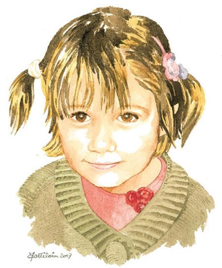 portrait aquarelle d'une fillette avec des couettes