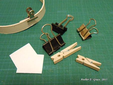 クリップ類と補助用の厚紙_カルトナージュの道具
