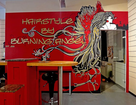 "wall artwork ""hairstyle by burning angel"""