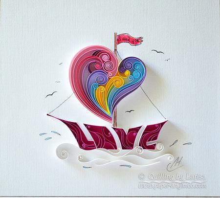 quilling , quilling paper, paper art, etsy, art, love, ship, love ship design, love heart, hearts, quilling art, quilling paper art