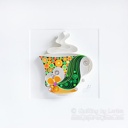 quilling , quilling paper, have a nice day, good mood , tea, cup of tea, quilling gift, paper art, art, tea art, paper coffee art, etsy, larissa zasadna, design,  quilling art, quilling paper art