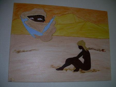 MISSION SAHARA - Réf. 10 - Réalisation: Acrylique - R.T - 80x60 -     PRIX: 180 euros