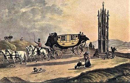 Postkutsche des 18. Jahrhunderts in der Gegend von Wien - Postkarte der k.k. Post