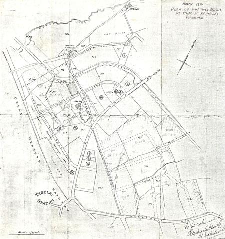 1916 plan of the Hay Hall estate (via K. Sprayson)