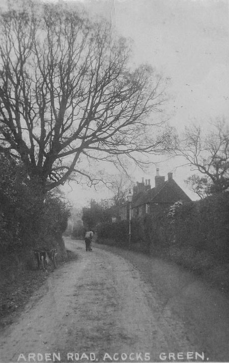 Arden Road as a narrow lane in Victorian times, with the famous tree and the old cottages, now listed