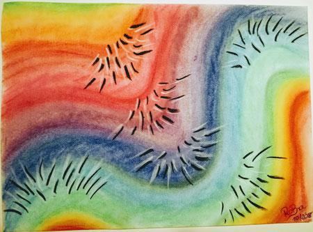 Stachliger Farbenrausch, Pastellkreide auf Pastellpapier A4