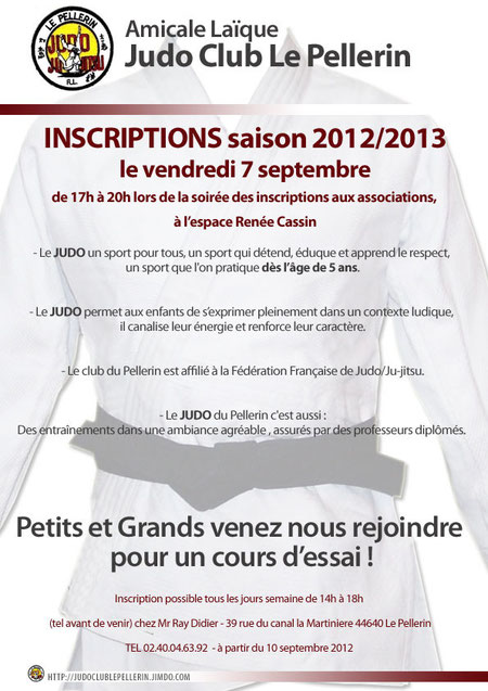 Inscription Judo Le Pellerin saison 2012 / 2013