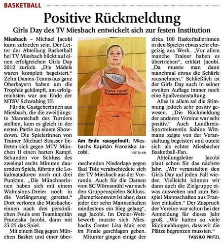 Artikel des Miesbacher Merkur vom 14.7.2012 (Sieger ist und bleibt natürlich Wasserburg) - Zum Vergrößern Klicken